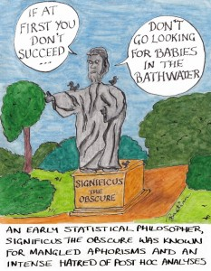 Cartoon about the dangers of retrospective analysis