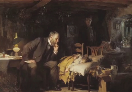 A oil painting of a physician with a sick child